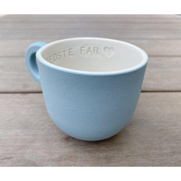 Helle Gram - Keramik håndlavet kop med navn, Verdens bedste Far, fjordblå