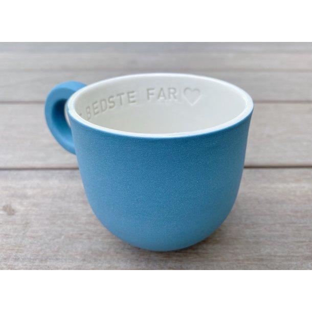 Helle Gram - Keramik håndlavet kop med navn, Verdens bedste Far, havblå