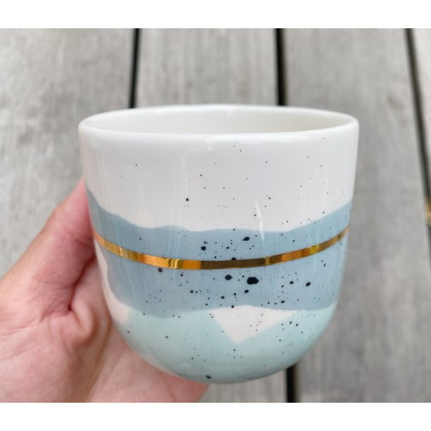 Marinski Heartmades - Ceramics handmade Latte mug Landscape, mint and blue with golden line