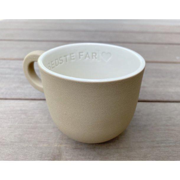 Helle Gram - Keramik håndlavet kop med navn, Verdens bedste Far, mokka