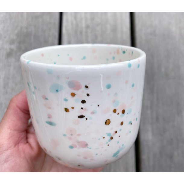 Marinski Heartmades - Keramik håndlavet Latte kop, Speckles and golden dots. mint, blush, pink