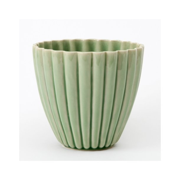 keramik urtepotteskjuler Hanne Bertelsen   Keramik urtepotteskjuler Rille, mellem, grøn  keramik urtepotteskjuler