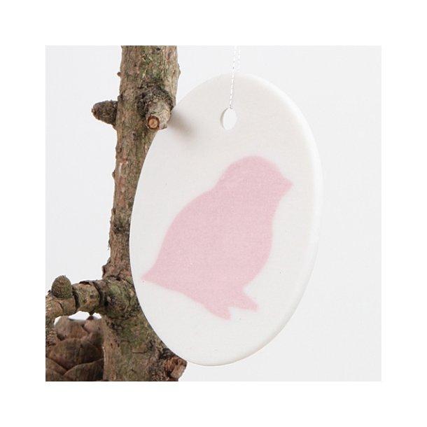 Helle Gram - Keramik ophæng fuglemotiv, lyserød