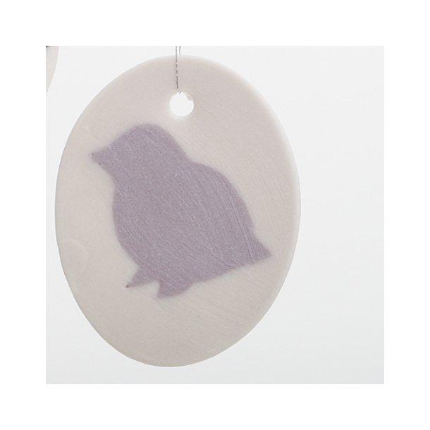 Helle Gram - Keramik ophæng med fuglemotiv, lavendel