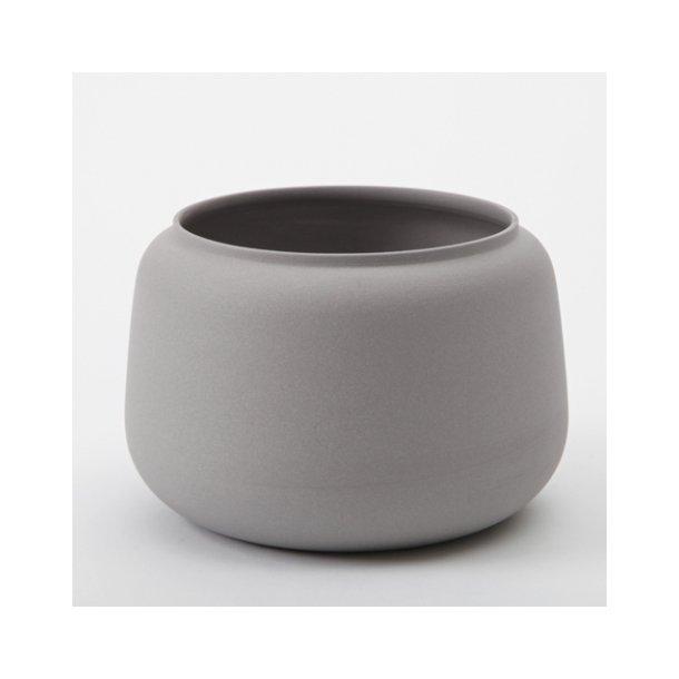 Ditte Fischer - Keramik håndlavet bred vase, grå