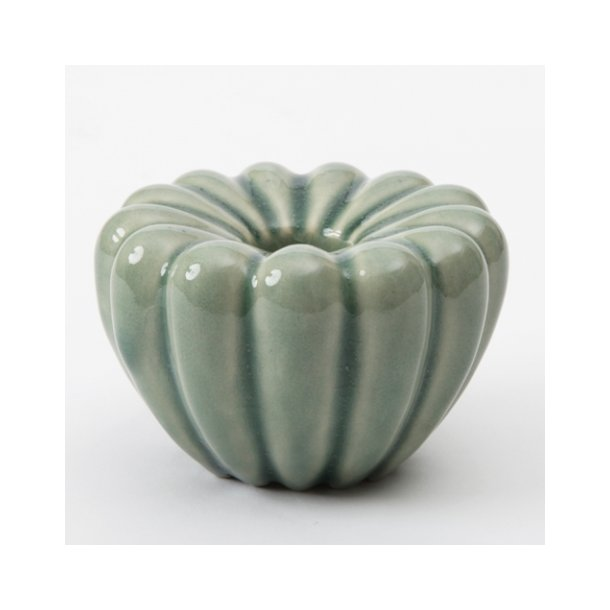 Hanne Bertelsen - Keramik håndlavet rillestage, mørkegrøn