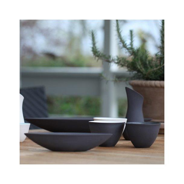 Ditte Fischer - Keramik håndlavet skål, bådskål sort, mellem