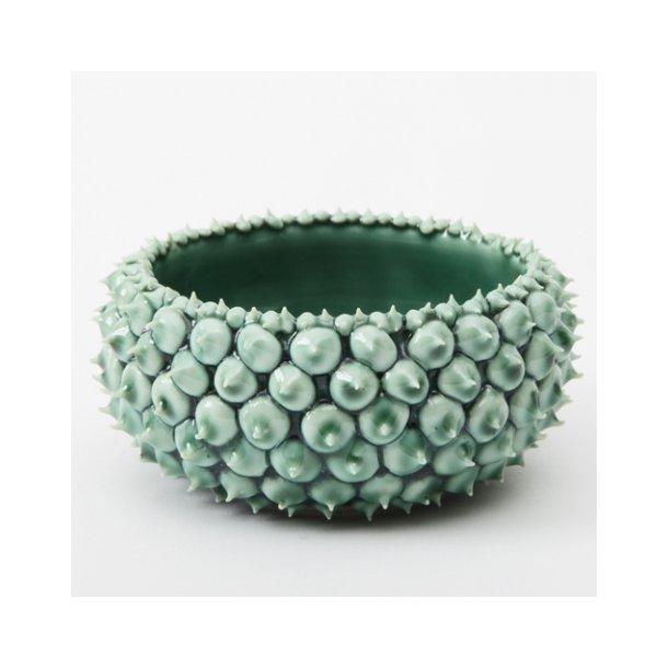 Henriette Duckert - Keramik håndlavet pigget skål mørkegrøn