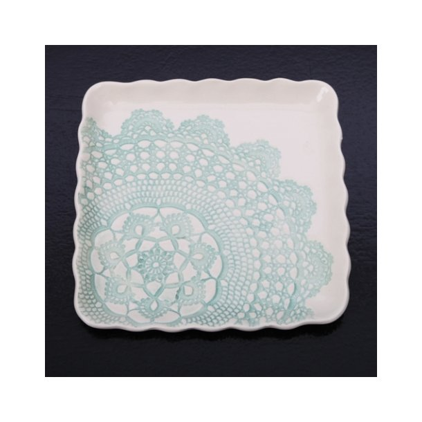 Kim Wallace - Keramik fad / tallerken Elodie Vintage Lace, mintgrøn