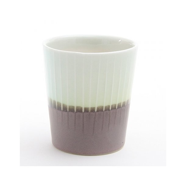 Clib Klap - Keramik håndlavet kop, lodrette riller, mørkebrun og lyseblå