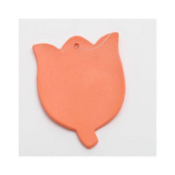 Esther Elisabeth Pedersen - Keramik tulipan til ophæng, orange