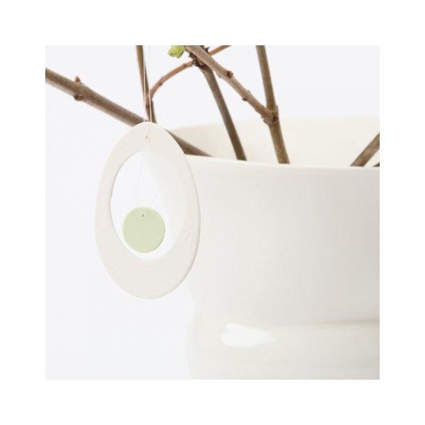 Esther Elisabeth Pedersen - Keramik æg i blomme, hvid og limegrøn