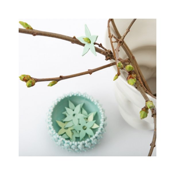 Esther Elisabeth Pedersen - Keramik blomster, 6 stk forårsgrøn