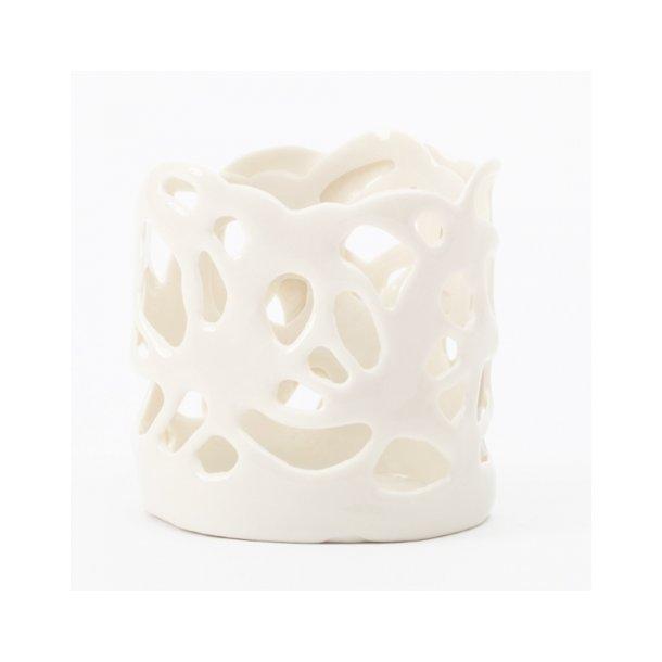 Helle Vestergaard  - Keramik Fyrfadstage / lyshus, porcelain poetry hvid (lille)