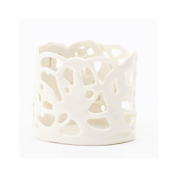 Helle Vestergaard  - Keramik Fyrfadstage / lyshus, porcelain poetry hvid (stor)