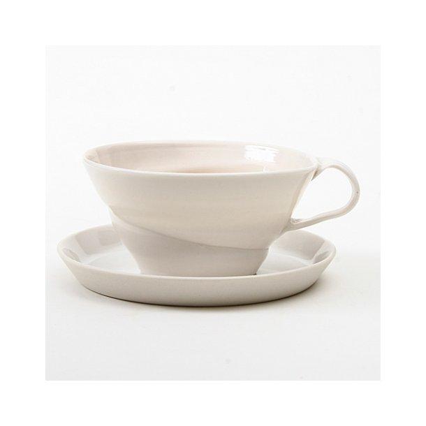 Christian Bruun - Keramik håndlavet tekop, i tynd hvid porcelæn