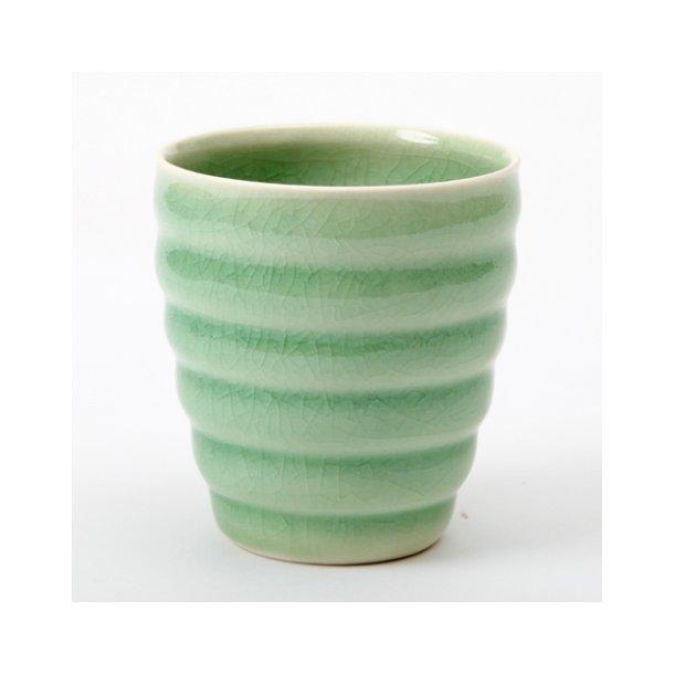 Hanne Bertelsen - Keramik rille kop, grøn