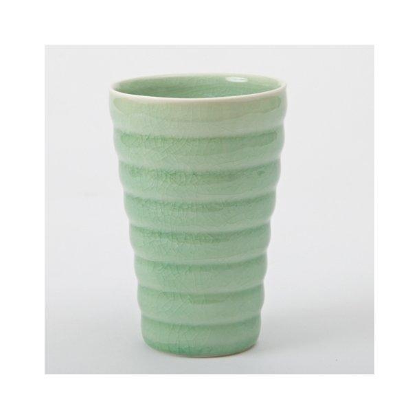 Hanne Bertelsen - Keramik Rille kop høj, grøn