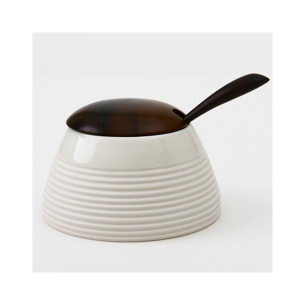 Wauw Design - Keramik skål Raw, hvid med ske og låg i træ