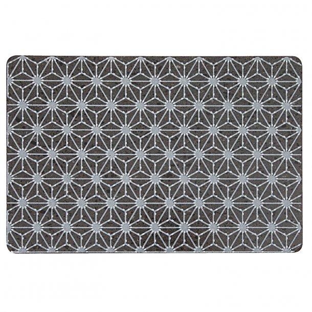Made a Mano - Lavasten håndlavet bræt, mørkt med hvid mønster