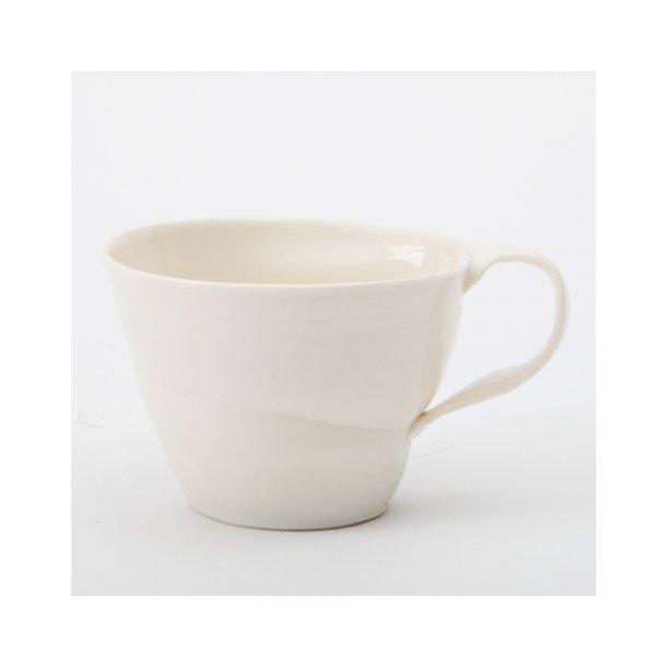 Christian Bruun - Keramik håndlavet kaffekop, i tynd hvid porcelæn