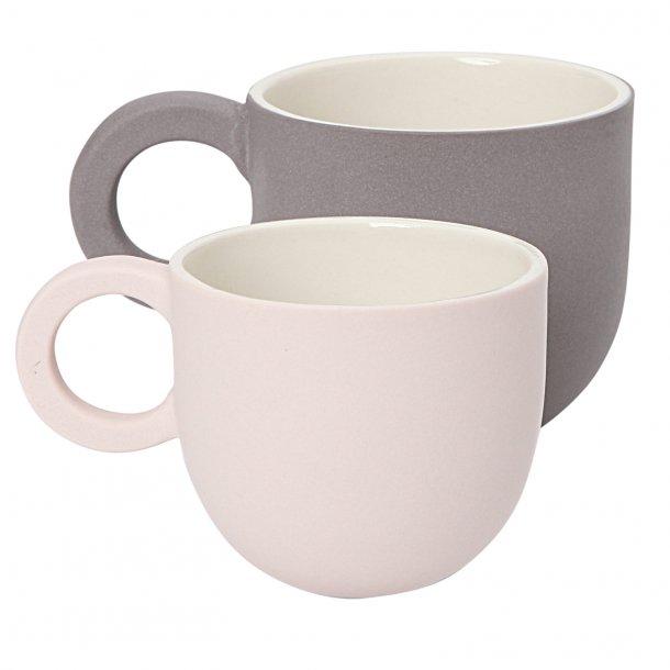 Helle Gram - Keramik håndlavet 'Mor & Barn sæt', 1 børne- og 1 voksenkop, chubby, valgfri farver