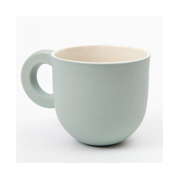 Helle Gram - Keramik chubby kop med rund hank, søgrøn