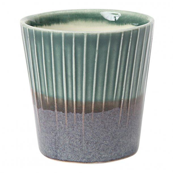 Clib Klap - Keramik håndlavet kop, lodrette riller, mørkebrun og mørkegrøn, mellem