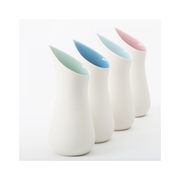 Ditte Fischer - Keramik håndlavet mælkekande, hvid og lyserød