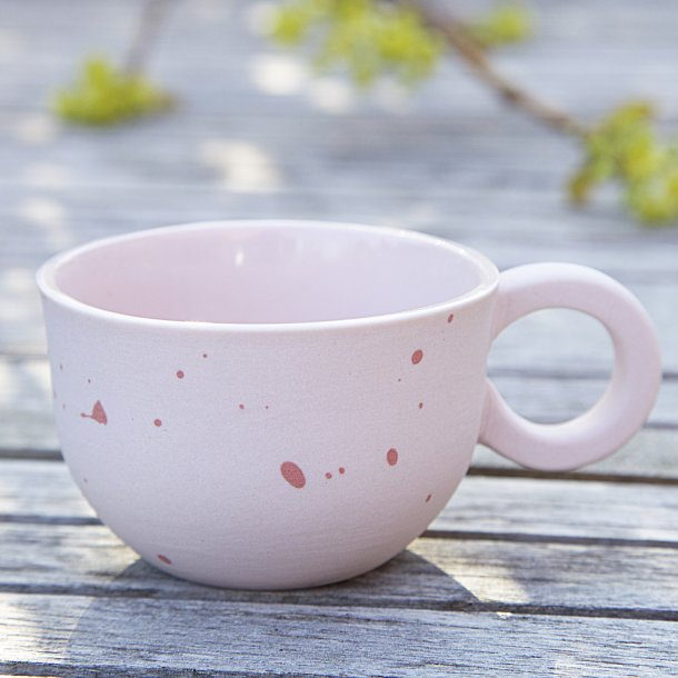 Helle Gram - Ceramic handmade espresso mug, chubby dots, light pink with red dots