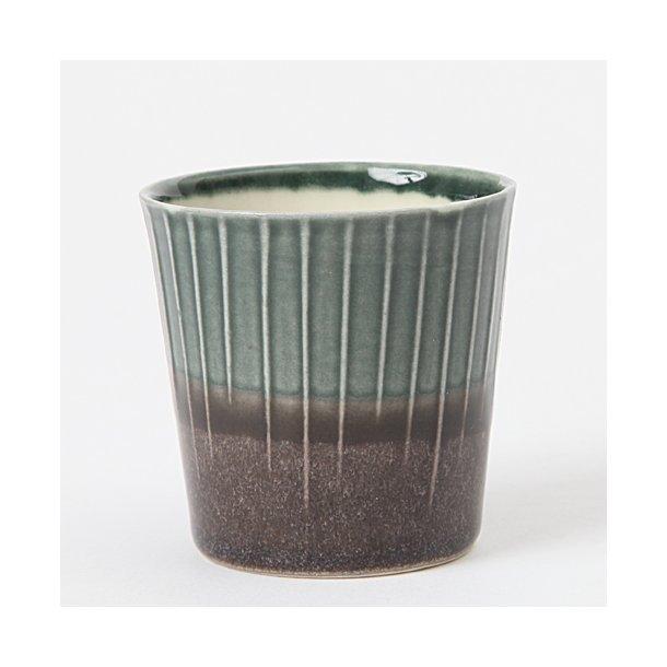 Clib Klap - Keramik håndlavet kop, espresso, mørkebrun og mørkegrøn