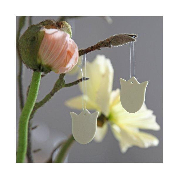 Esther Elisabeth Pedersen - Keramik tulipan til ophæng mini, lysegul, 5 stk