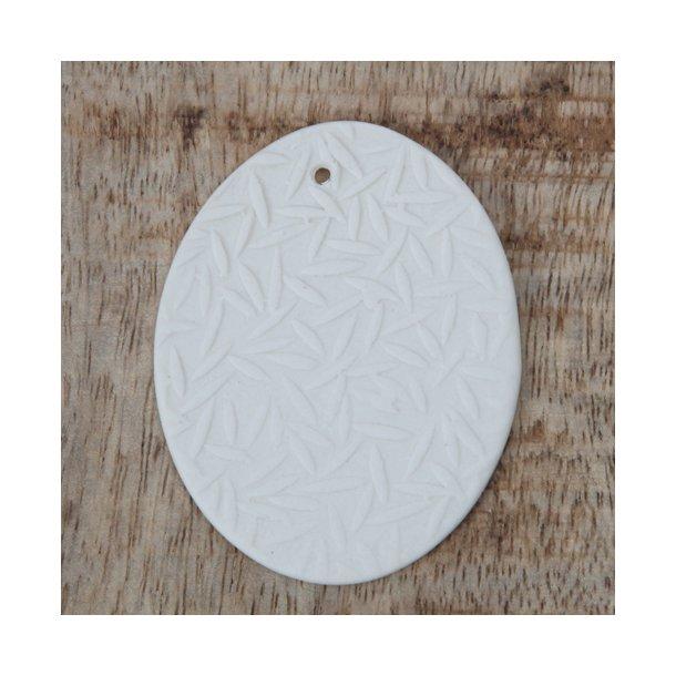 Esther Pedersen - Keramik håndlavet påskeæg med fjer, hvid