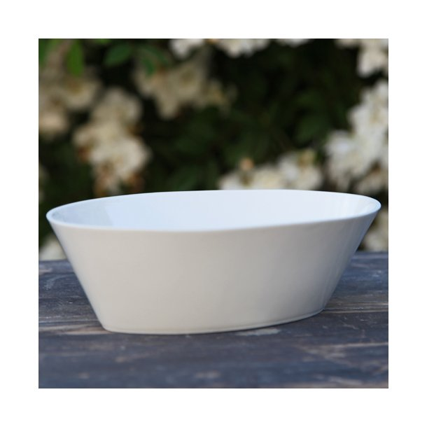 Esther Elisabeth Pedersen - Keramik håndlavet oval høj tallerken / fad, hvid, stor