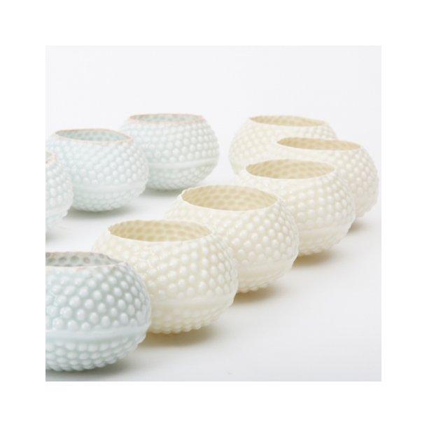 Hanne Bertelsen - Keramik håndlavet fyrfadstage lyspindsvin, hvid (creme hvid)