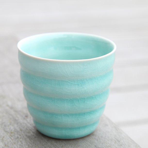 Hanne Bertelsen - Keramik rille kop lav, turkis
