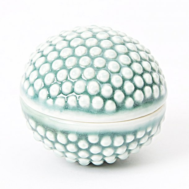 Hanne Bertelsen - Keramik håndlavet lågkrukke mini, gråturkis