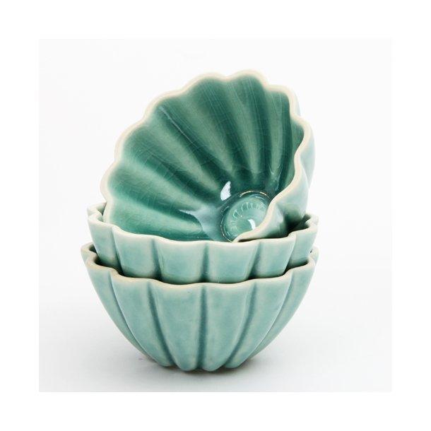 Hanne Bertelsen - Keramik håndlavet skål Rille blomst lille, grågrøn
