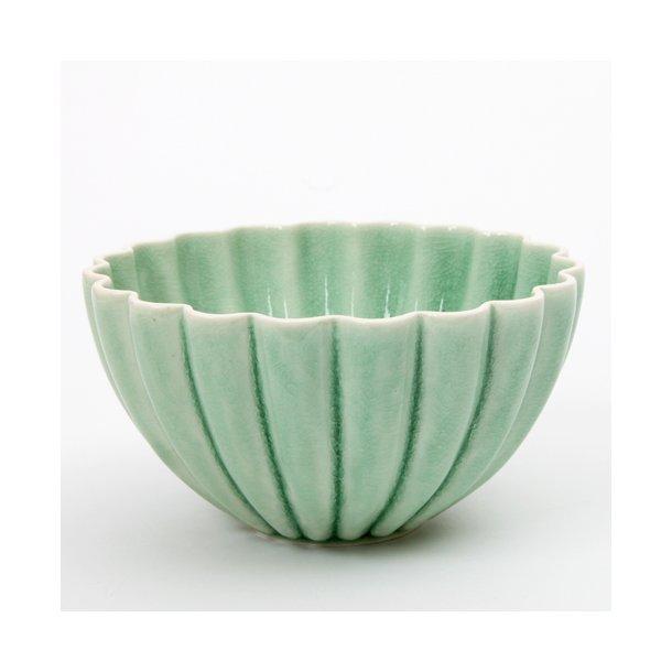 Hanne Bertelsen - Keramik håndlavet skål Rille blomst mellem, grøn