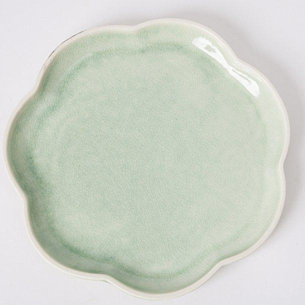 Hanne Bertelsen - Keramik håndlavet frokosttallerken, blomst, grøn
