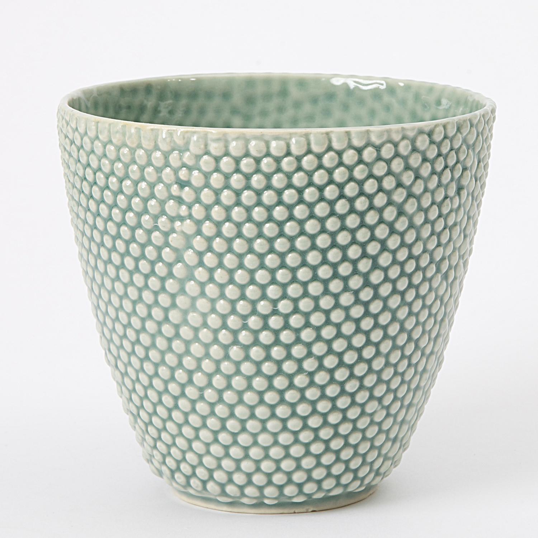 keramik urtepotteskjuler Hanne Bertelsen   Keramik håndlavet urtepotteskjuler Prik, lille  keramik urtepotteskjuler