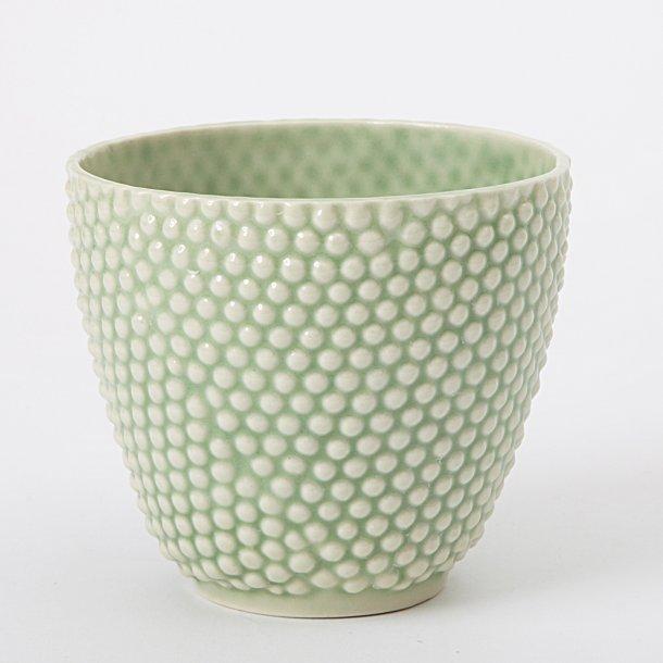 Hanne Bertelsen - Keramik håndlavet urtepotteskjuler Prik, mini, grøn