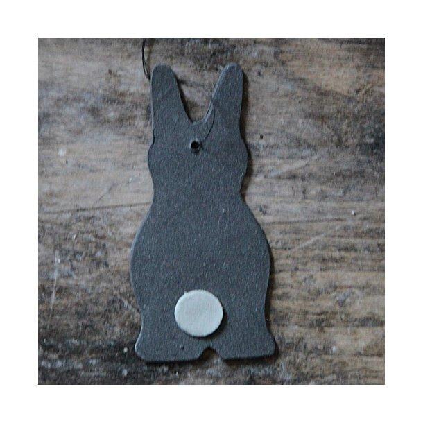 Helle Gram - Keramik påskehare lille, sort med grå hale