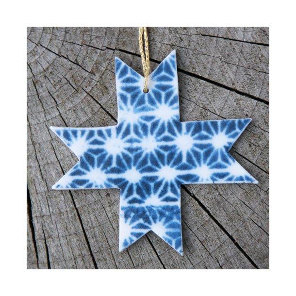 Helene Søs Schjødts - Keramik håndlavet julestjerne stjernemønster, blå