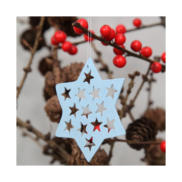 helle gram ceramic christmas ornaments handmade stars with stars light blue - Ceramic Christmas Ornaments