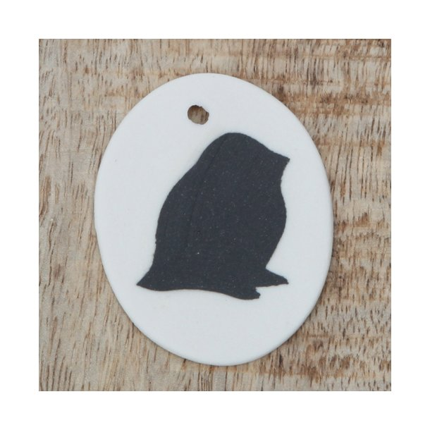 Helle Gram - Keramik ophæng med fuglemotiv, sort