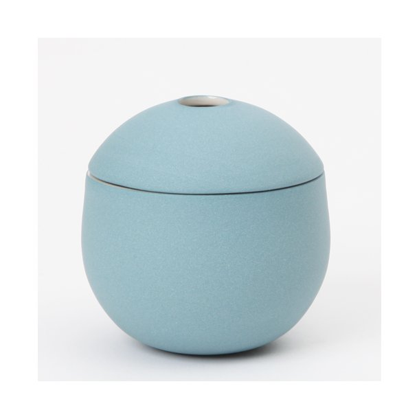 Helle Gram - Keramik håndlavet lågkrukke, Chubby, havblå