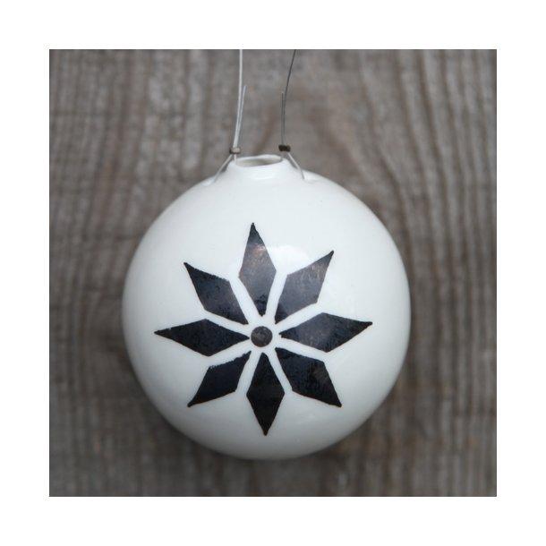 Helle Gram - 1 håndlavet julekugle, stjernedesign (lille)