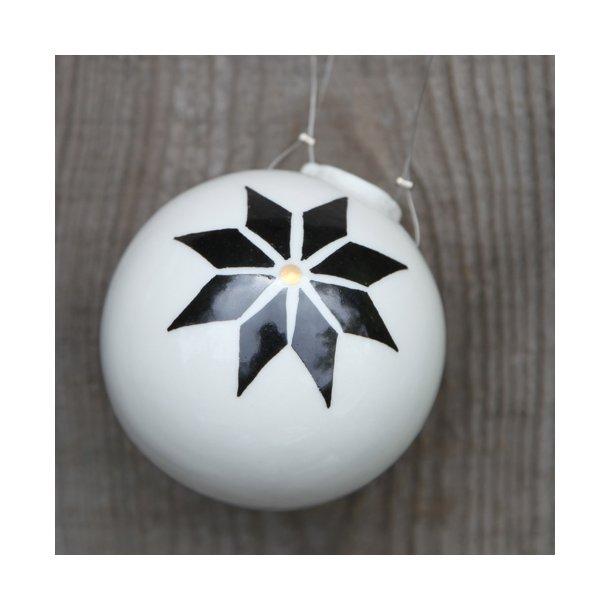 Helle Gram - 1 håndlavet julekugle, stjernedesign (mellem)