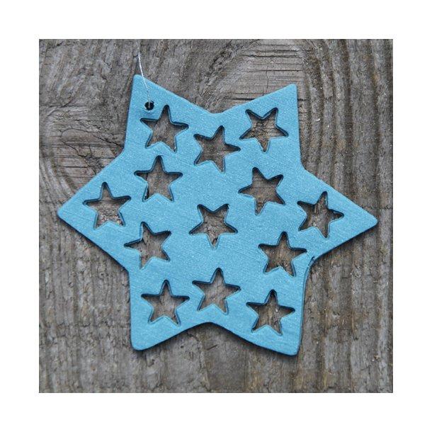 Helle Gram - Keramik julepynt håndlavet stjerne med stjerner (havblå)